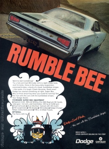 "Dodge ""Rumble Bee"" 1968 Magazine Print Ad"