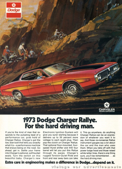 Dodge Charger Rallye ad from a 1973 Road And Track Magazine