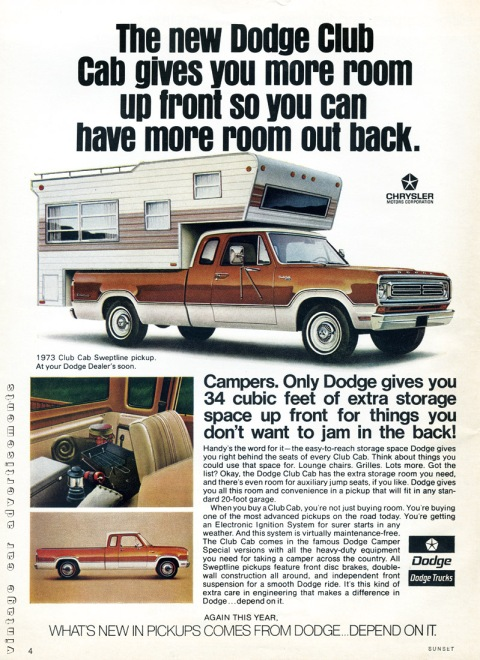 Dodge Club Cab pickup advertisement from 1972