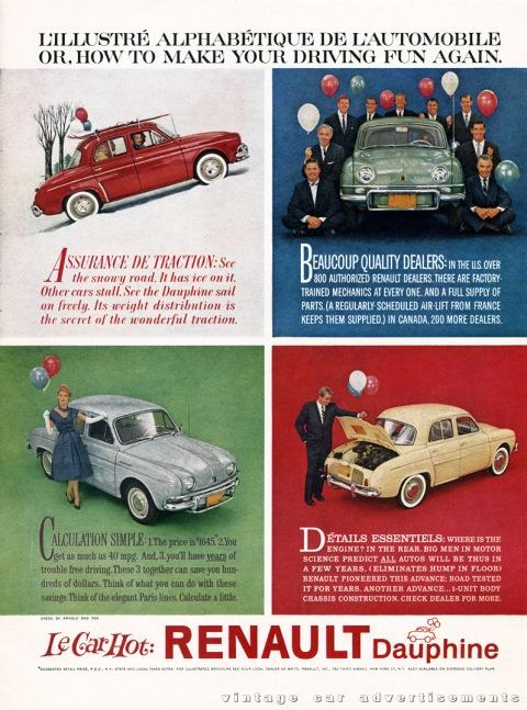 Vintage 1950s Renault Dauphine car advertisement