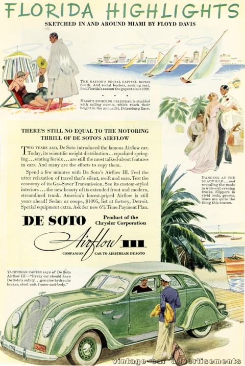 Vintage 1936 advertisement for the DeSoto Airflow III, with illustrations by Floyd Davis