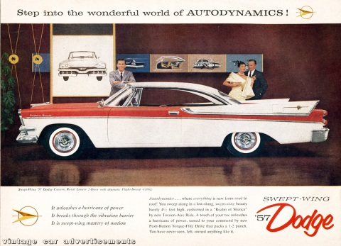 Scan of an original 1957 magazine ad for the Dodge Custom Royal Lancer car