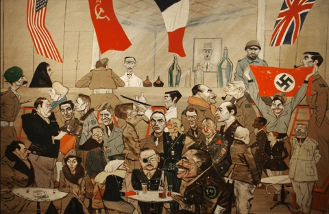 Bar in Hotel Scribe, Floyd Davis painting from 1944