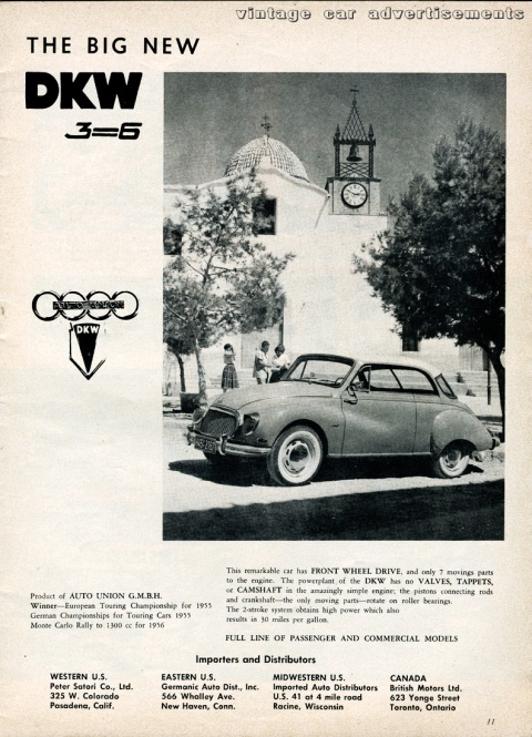 Vintage 1957 automobile ad for the DKW 3=6 2-stroke car