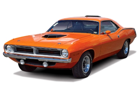 An orange 1970 Plymouth Barracuda in beautiful condition