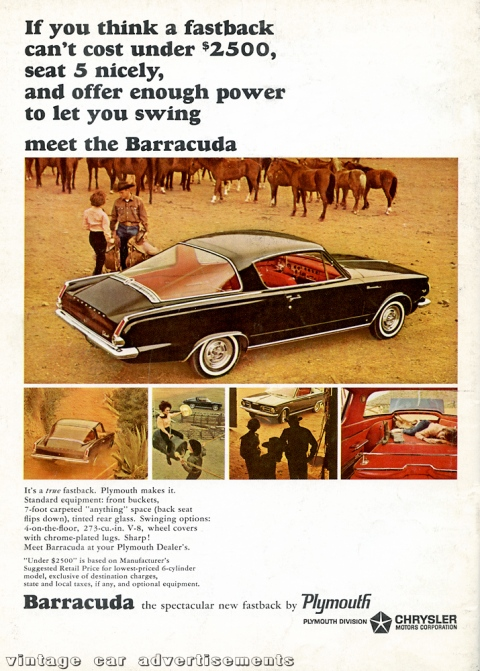 1964 advertisement for the new Plymouth Barracuda fastback