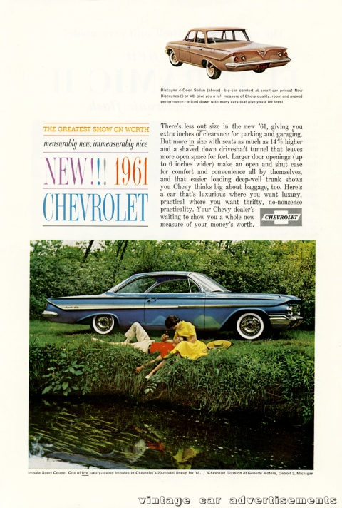 Vintage advertisement for the 1961 Chevrolet Impala and Biscayne automobiles