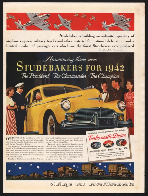 Vintage 1942 advertisement for the Studebaker President, Commander and Champion models