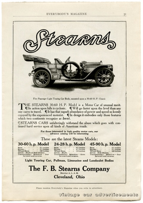 Vintage 1908 advertisement for the Stearns 30-60 H.P. Model automobile